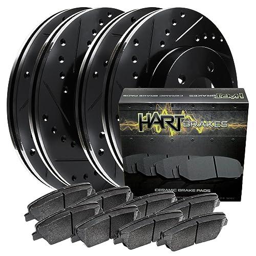 eLine Drilled Slotted Brake Rotors /& Ceramic Pads CEC.6511302 COMPLETE KIT