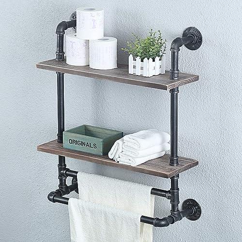 Womio Industrial Pipe Bathroom, Bathroom Shelves With Towel Bar Ideas