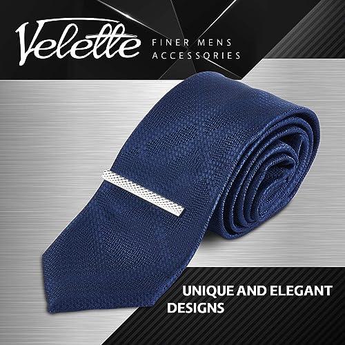 Classic Tie Pins Set of 4 Velette Tie Clips for Men Silver