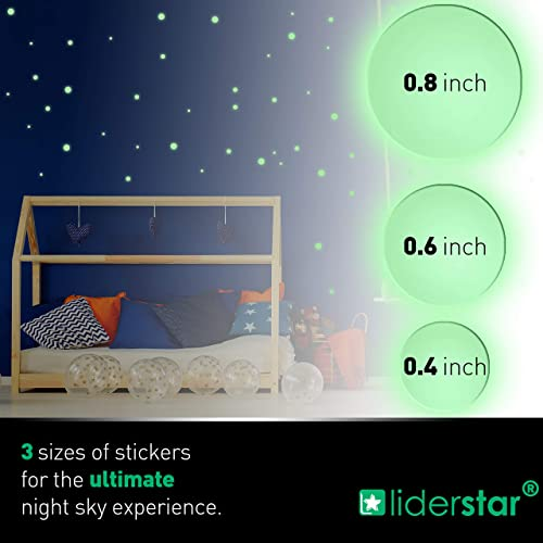 LIDERSTAR Glow In The Dark Stars Wall Stickers,252 Adhesive Dots and Moon for