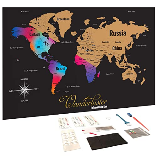 Obytek Scratch Off Travel Map Set Includes Flat World Map and US Map Posters Plus Magnifying Glass Black Scratching Tools and Wiping Cloth