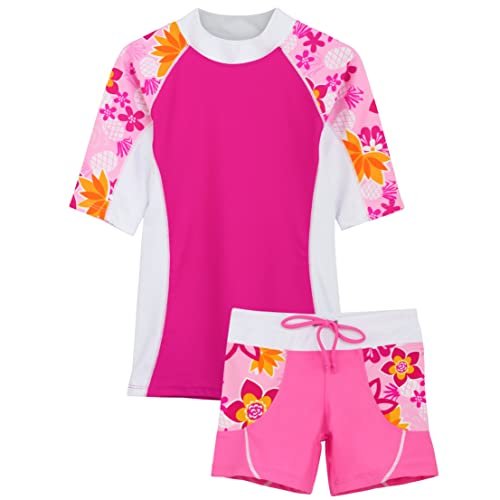 Karrack Girls Frilly Skirt One Piece Rash Guard Swimsuit Kid Water Sport Short Swimsuit UPF 50 Sun Protection Bathing Suits