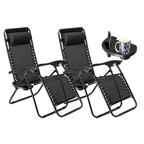 Set of 2 Heavy Duty Textoline Zero Gravity Chairs Garden Outdoor Patio Sunloungers Folding Reclining Chairs