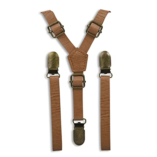 Lawevan Boys and Girls Trouser Braces Suspenders Vintage British Style Artificial Leather Braces
