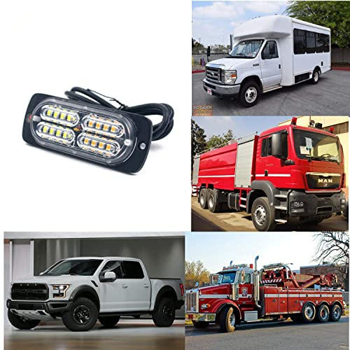 12-24V 20-LED Super Bright Emergency Warning Caution Hazard Construction Waterproof Amber Strobe Light Bar with 13 Different Flashing for Car Truck SUV Van Blue 4PCS