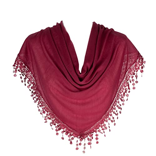 HENGSONG Lace Hollow Out Tassels Scarf Triangular Tippet 12 Colors