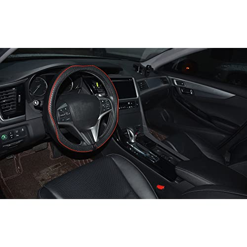 14 1//4 Inch Small Size Steering Cover Anti-Slip Embossing Pattern A Soft Padding No Smell Durable Black with Red Line Rueesh Microfiber Leather Car Steering Wheel Cover