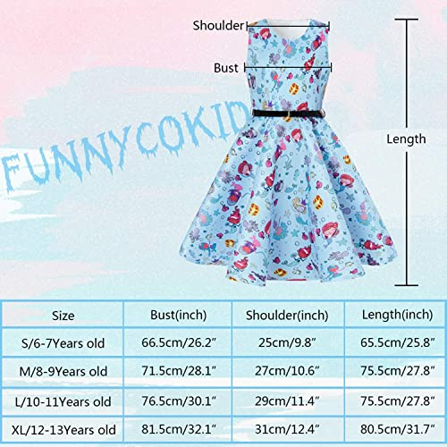 Funnycokid Girls Vintage Dress Sleeveless Swing Party Dresses with Belt 5-12 Years