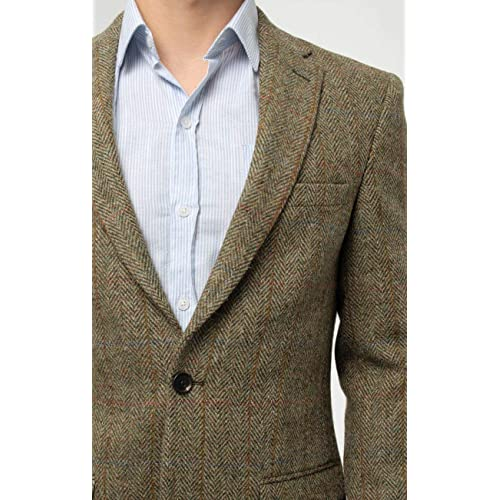 Dobell Scottish Harris Tweed Mens Blue Suit Trousers Regular Fit 100/% Wool Herringbone