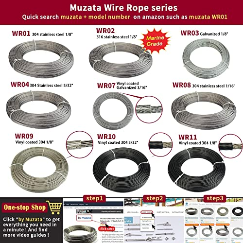 Muzata Stainless Steel Wire Rope 5//32 Aircraft Cable 250 Feet for Railing Decking Stair Balustrade Dog Run Clothes Lines Outdoors DIY,7x19 Strand WR04,Series WP1