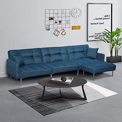 Chrome Metal Legs Reversible Ottoman, Sofa Bed Modern Design