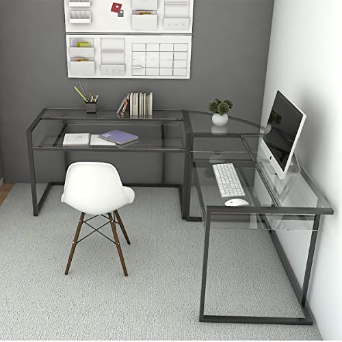Ryan Rove Belmac Glass Large Modern, L Shaped Desk For Small Office