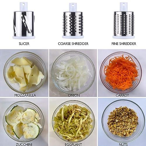 Pecans Food 3 Stainless Steel Drums LOYALMASTER Rotary Cheese Grater Carrots Strong Suction Base Round Drum Slicer Shredder Grinder Nut Chopper Hand Crank Mandoline for Vegetable Salad