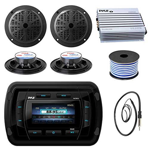 """4 Cover Antenna Pyle Boat Receiver, 6.5/"""" 240W Marine Speakers w// LED Lights"""