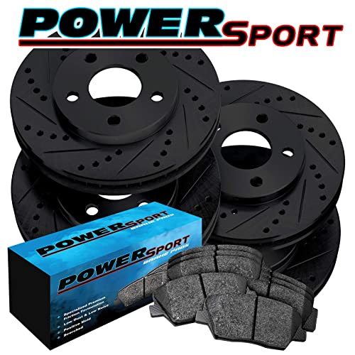 Fit 2007-2008 Honda Fit Front Sport Black Slotted Brake Rotors+Ceramic Brake Pad