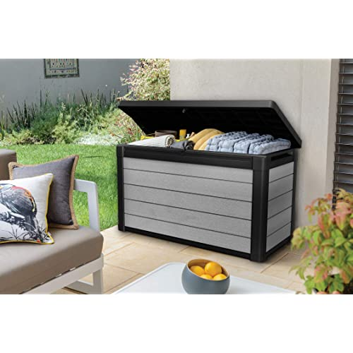 Grey//Black Keter 240302 Denali 100 Gal All Weather Outdoor Storage Deck Box