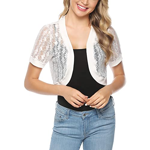 Abollria Women Short Sleeve Floral Lace Shrug Open Front Bolero Cardigan