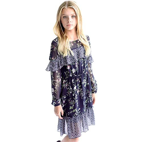 Big Girls Tween Beautiful Floral Printed Long Sleeves Dresses 7-16 Smukke with Options