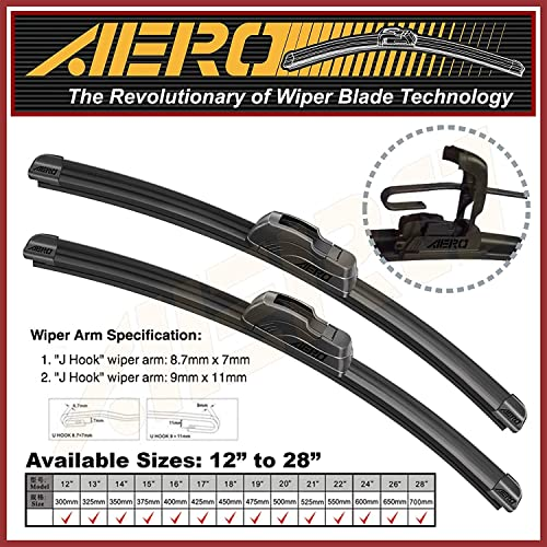 LAND ROVER BOSCH Twin Front Windshield Wiper Blades PAIR 530mm 21 807