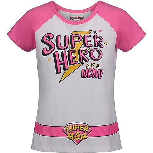 Funstuff Mother/'s Day Super Hero Mom Toddler Girls/' T-Shirt /& Cape White /& Pink