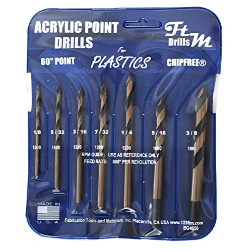 Norseman 7pc Acrylic Point Drill Set in Vinyl Pouch Includes 1//8 acrylic, plexiglass, ABS, lexan, polycarbonate, pvc 7//32 1//4 3//16 5//32 Drill Bits for Plastic 5//16 and 3//8 Part BG4650A