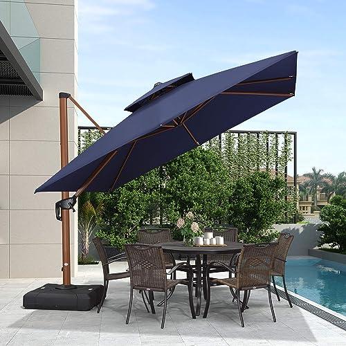 Purple Leaf 10ft Patio Umbrella, Large Tilting Patio Umbrella