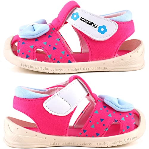 Moceen Toddler Girls Sandals Baby Summer Soft Microfiber Bow-tie Closed Toe Sandals