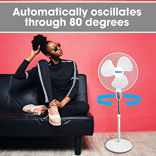Cooling for Summer in Home//Office 3 Speeds Eco 16 Inch Tilting Head Oscillating//Rotating 3 Modes: Normal Duronic Pedestal Fan FN60 Remote Control Night Timer Function Electric 60W
