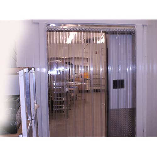 White Opaque 8 in 14 ft Strip-Curtains.com: Strip Door Curtain 48 in. Strips with 50/% Overlap 4 ft Width X 168 in. Height Stainless Steel Hardware