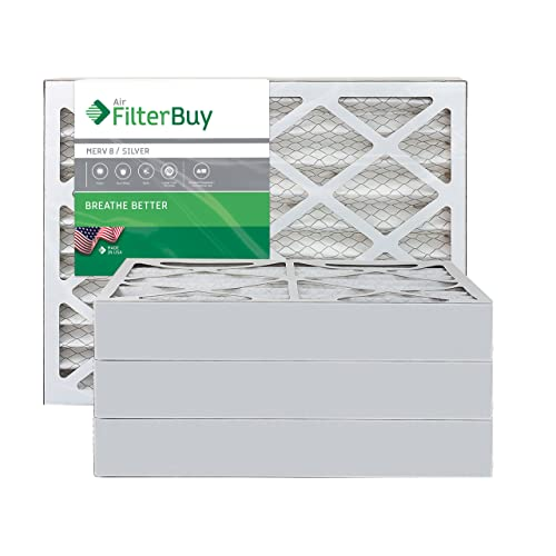 Silver FilterBuy 21x22x1 MERV 8 Pleated AC Furnace Air Filter, Pack of 2 Filters 21x22x1