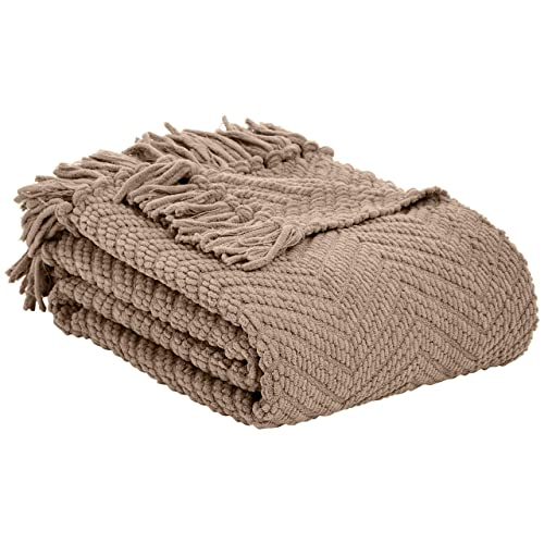 MOTINI Decorative Throw Blanket Dark Gray Cotton Waffle Throw with Tassel Cozy Elegant Solid Knit Fringe Soft Blanket for Couch Bed Sofa 50 x 60
