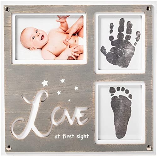 A Perfect Baby Shower Gift Pearhead Babyprints Newborn Baby Handprint and Footprint Photo Frame Kit with an Included Clean-Touch Ink Pad to Create Babys Prints