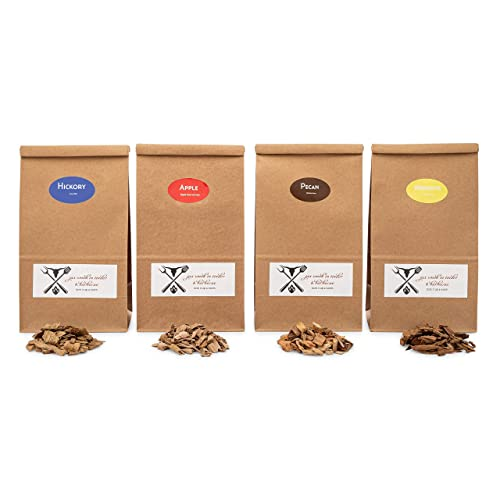 Hickory, Cherry, Mesquite, Post Oak Our Most Popular Medium Sized Smoker Chips Jax Smokin Tinder Premium BBQ Wood Chips for Smokers Variety Pack