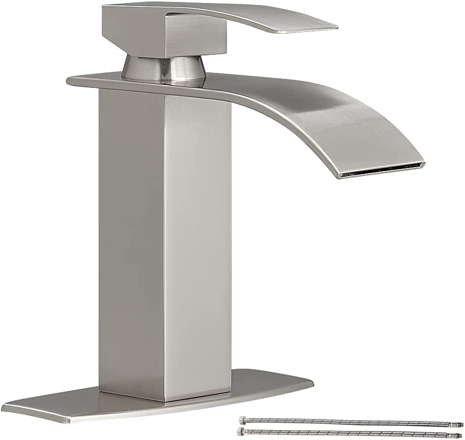 Hoimpro Waterfall Spout Brushed, Bathroom Vessel Faucets