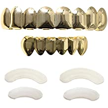 Grillz 14k Baguette Set White Joker Gold Grillz for Mouth Top Bottom Hip Hop Teeth Grills for Teeth Mouth Grillz for Mouth Top Bottom Hip Hop 8 Teeth Grills for Teeth Mouth Set Teeth Cap