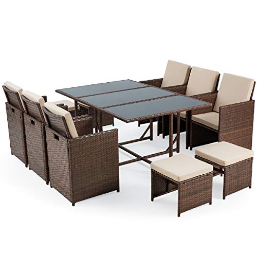 Erommy 11 Pieces Patio Dining Set, Outdoor Patio Set With Ottomans