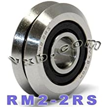 16 PCS PGN RM2-2RS 3//8 Rubber Sealed V Groove Roller Ball Bearing