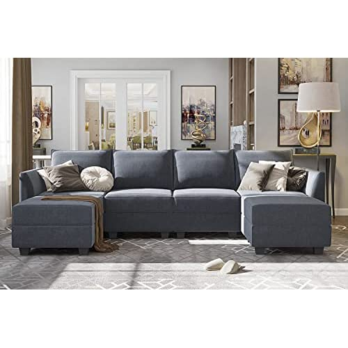 Reversible Chaise Modular Sofa, Grey Sectional Sofa Bed