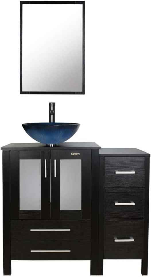 36 Black Bathroom Vanity And Sink, Bathroom Vanity Vessel Sink Combo