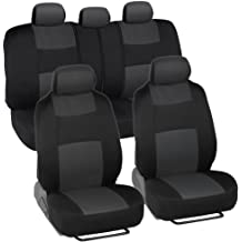 FH Group FB050BLACK012 Black Fabric Bench Car Seat Cover with 2 Headrests