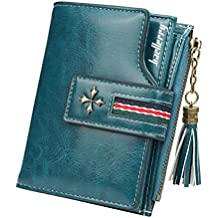 Color: Green Xennos Wallets 3 Fold Vintage Women PU Leather Coin Purse Zipper Purse Wallet Short Credit Cards