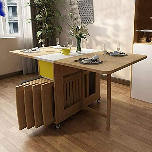 Shozafia Foldable Kitchen Table, Wooden Folding Dining Room Chairs