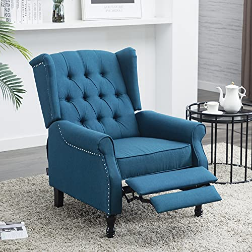 Artechworks Tufted Fabric Push Back, Club Chair Recliner Fabric