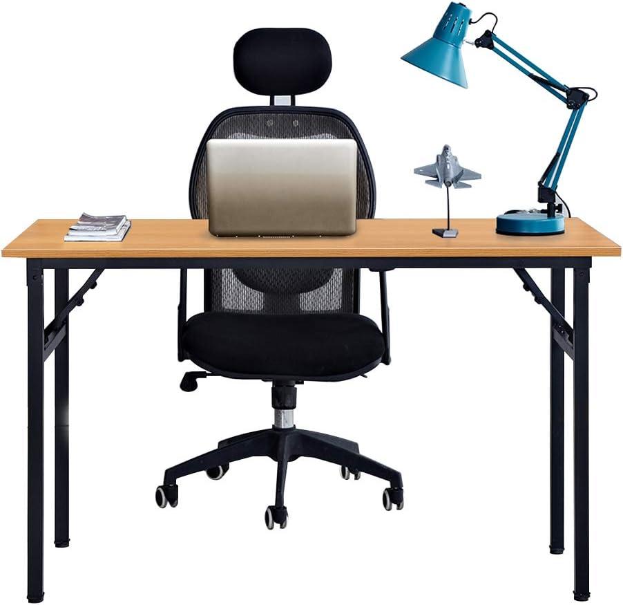 Sogesfurniture Folding Table Office, Portable Folding Computer Desk Laptop Table Workstation Furniture Black