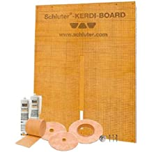 Schluter Kerdi 38-Inch X 60-Inch Off-Center Shower Kit with Brushed Nickel Anodized Drain