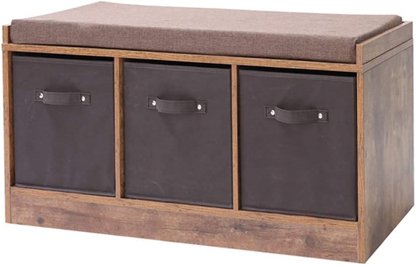 Iwell Rustic Storage Bench With 3, Entryway Furniture Storage Benches