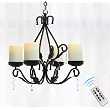 Wrought Iron 6 Arm Votive Candle Chandelier w// Pots-Hand Made