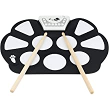 Longruner Foldable Roll Up Drum Kit with 7 Drum Practise Pads 2 Drum Sticks Best Birthday Christmas Gift for Kids Children Starters 2 Foot Drum Pedals Electronic Drum Set Headphone Jack