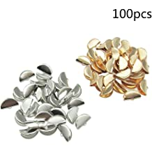 NX Garden Eye Pin Cap 12PCS 925 Sterling Golden 3mm Peg Bail Cap for Half-Drilled Beads or Stones DIY Jewelry Making
