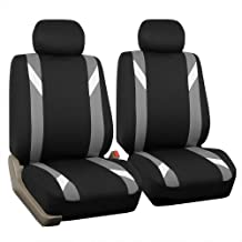 FH Group FB102GRAY102 Gray Classic Cloth 3D Air Mesh Front Set Bucket Auto Seat Cover Set of 2